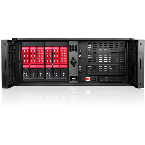 "iStarUSA Compact Stylish Trayless Rackmount Chassis for Six 3.5"" Hotswap Drives (4RU, Red HDD Handles)"