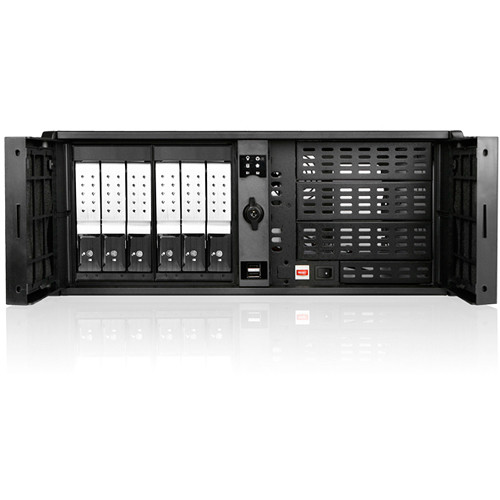 "iStarUSA 4 RU Compact Stylish Trayless Rackmount Chassis for Six 3.5"" Hotswap Drives (Silver HDD Handles)"