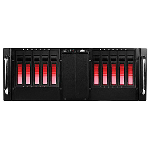 iStarUSA 4U 10-Bay Stylish Storage Server Rackmountable Chassis Kit with Hot-Swap Cage (Red HDD Handles)