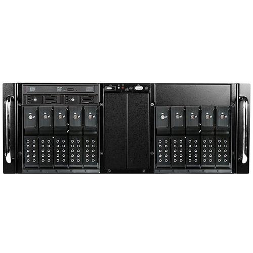 iStarUSA D-410-DE10-25TU 4 RU 10-Bay Stylish Hotswap Trayless USB 3.0 Slim ODD Storage Server Rackmount Chassis (Black HDD Handles)