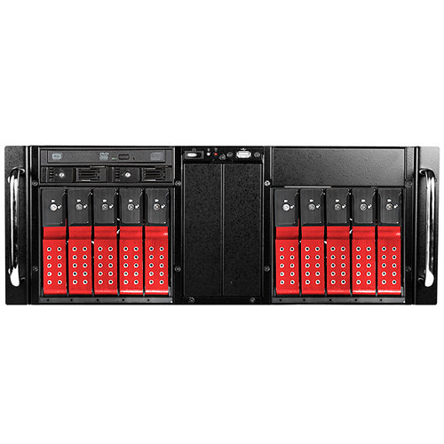 iStarUSA D410-DE10RD-25TU 10-Bay Trayless USB 3.1 Gen 1 ODD Rackmount Storage Server (Red)