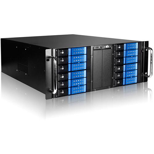 "iStarUSA 4 RU 12-Bay Stylish Storage Server Trayless Hotswap 12 x 3.5"" Rackmountable Chassis Kit (Blue HDD Handles)"