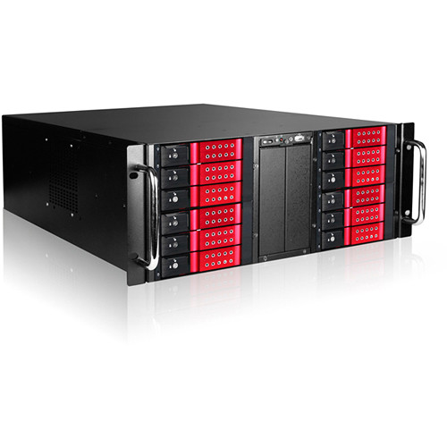 "iStarUSA 4 RU 12-Bay Stylish Storage Server Trayless Hotswap 12 x 3.5"" Rackmountable Chassis Kit (Red HDD Handles)"