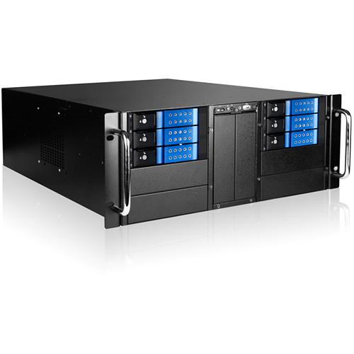 "iStarUSA 4U 10-Bay Stylish Storage Server Trayless Hotswap 6x 3.5"" Rackmountable Chassis Kit (Blue HDD Handles)"