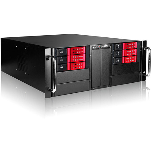 "iStarUSA 4U 10-Bay Stylish Storage Server Trayless Hotswap 6x 3.5"" Rackmountable Chassis Kit (Red HDD Handles)"