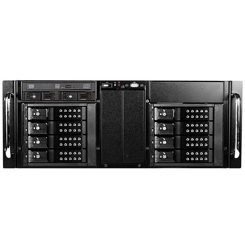 iStarUSA D-410-DE8-225T 4 RU 8-Bay Stylish Hotswap Trayless Slim ODD Storage Server Rackmount Chassis (Black HDD Handles)