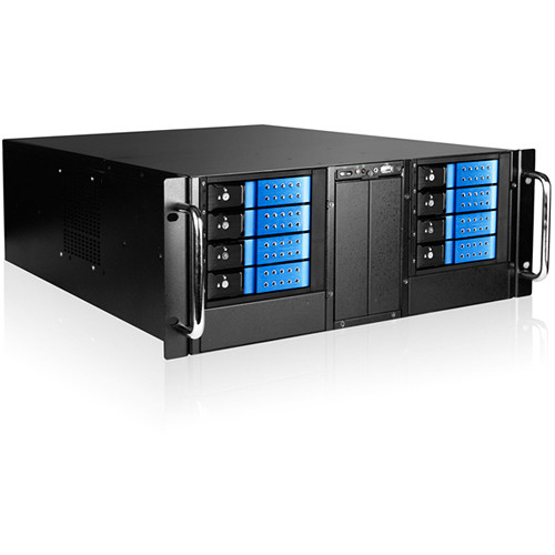 iStarUSA D-410-DE8-225T 4 RU 8-Bay Stylish Hotswap Trayless Slim ODD Storage Server Rackmount Chassis (Blue HDD Handles)