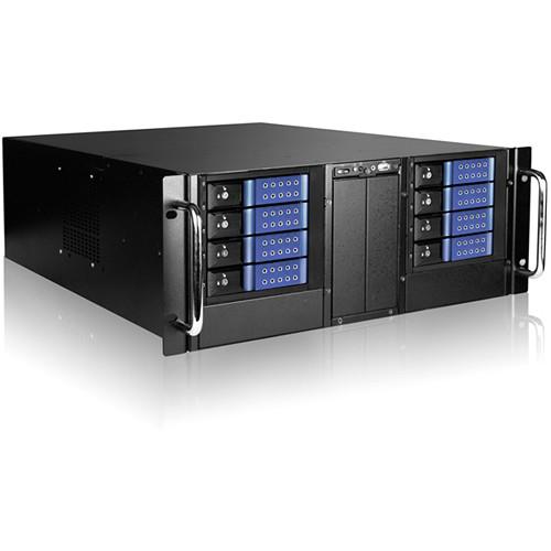 "iStarUSA D410-DE8BL 4U 10-Bay Stylish Storage Server Rackmount 8x3.5"" Trayless Hotswap Chassis Kit (Blue Bezel)"