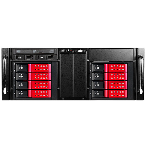 iStarUSA D-410-DE8-225T 4 RU 8-Bay Stylish Hotswap Trayless Slim ODD Storage Server Rackmount Chassis (Red HDD Handles)