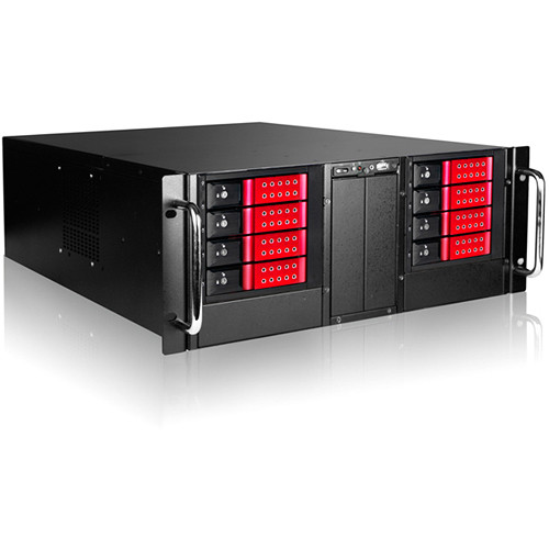 "iStarUSA D410-DE8RD 4U 10-Bay Stylish Storage Server Rackmount 8x3.5"" Trayless Hotswap Chassis Kit (Red Bezel)"