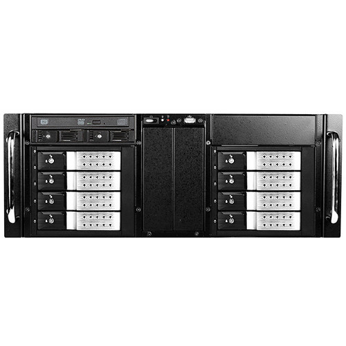 iStarUSA D-410-DE8-225T 4 RU 8-Bay Stylish Hotswap Trayless Slim ODD Storage Server Rackmount Chassis (Silver HDD Handles)