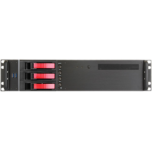 "iStarUSA D-230HB-T 2U Compact 3 x 3.5"" Bay Hotswap microATX Rackmount Chassis (Red)"