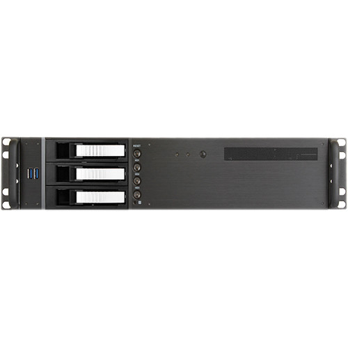 """iStarUSA D-230HB-T 2U Compact 3 x 3.5"""" Bay Hotswap microATX Rackmount Chassis (Silver)"""