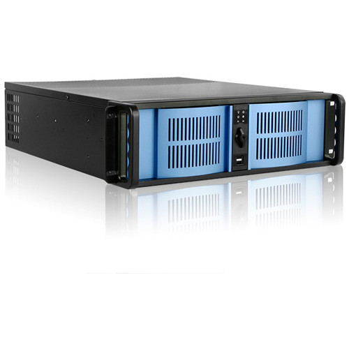 """iStarUSA 3 RU Compact Stylish Rackmount Chassis with 7"""" Touch Screen LCD (Blue Bezel)"""
