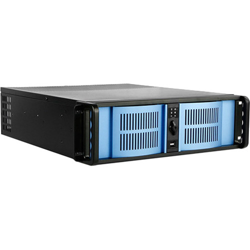 iStarUSA D-300-FS 3U Compact Stylish Rackmountable Chassis (Blue Bezel)