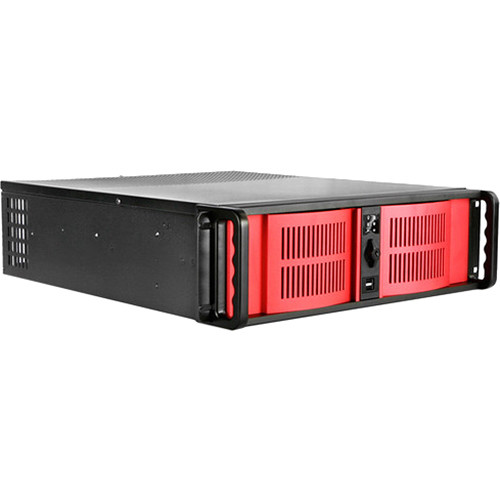 iStarUSA D-300-FS 3U Compact Stylish Rackmountable Chassis (Red Bezel)