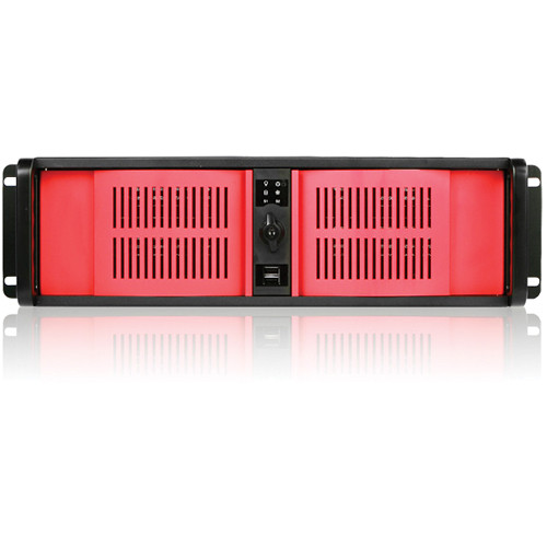 iStarUSA D Storm Series D-300-RED 3U Compact Stylish Rackmountable Chassis (Black)