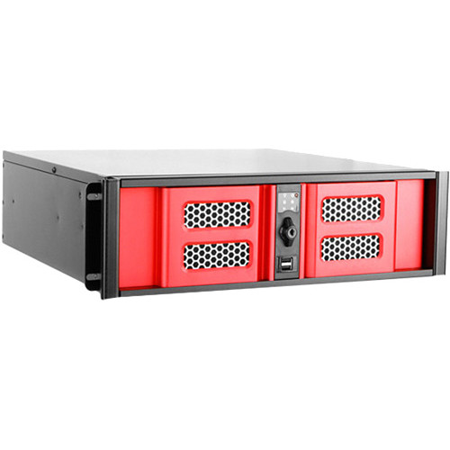 iStarUSA D Storm Series D-300SASE 3U Compact Stylish Aluminum Rackmountable Chassis (Red Bezel)