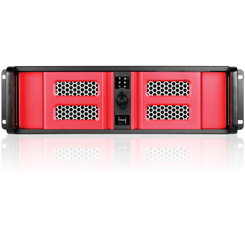 iStarUSA D Storm Series D-300SE 3U Compact Stylish Rackmountable Chassis (Red Bezel)