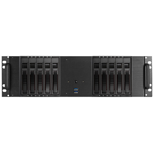 """iStarUSA D-3100HB 3U Compact 10 x 3.5"""" HDD Bay Hotswap microATX Chassis (Black HDD Handle)"""