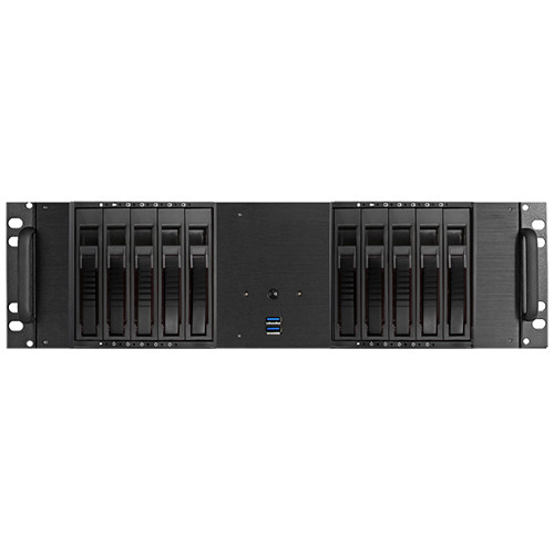 """iStarUSA D-3100HB 3U Compact 10 x 3.5"""" HDD Bay Hotswap microATX Chassis (Silver HDD Handle)"""