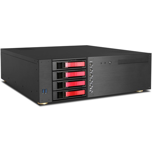 "iStarUSA D-340HB-DT 3 RU Compact 4 x 3.5"" Bay Hotswap microATX Desktop Chassis (Red HDD Handles)"