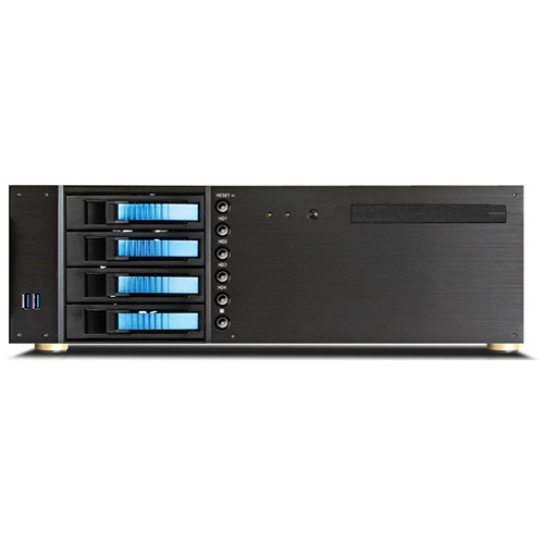 "iStarUSA D-340HB-T 3 RU Compact 4 x 3.5"" Bay Hotswap microATX Rackmount Chassis (Blue HDD Handles)"