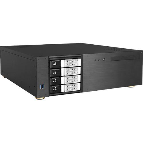 "iStarUSA D-340HN-DT 3 RU Compact 4 x 3.5"" Bay Trayless Hotswap microATX Desktop Chassis (Silver HDD Handles)"