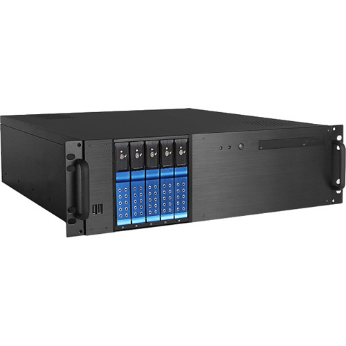 "iStarUSA D-350HN-T 3 RU Compact 5 x 3.5"" Bay Trayless Hotswap microATX Rackmount Chassis (Blue HDD Handles)"