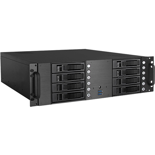 """iStarUSA D-380HB 3U Compact 8 x 3.5"""" HDD Bay Hotswap microATX Chassis (Blue HDD Handles)"""