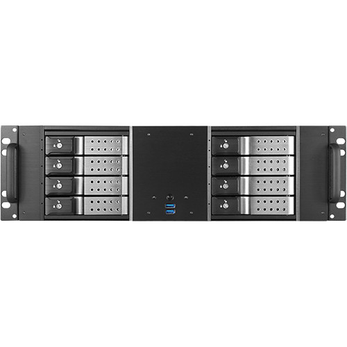 """iStarUSA D-380HN 3U Compact 8 x 3.5"""" HDD Bay Trayless Hotswap microATX Chassis (Silver HDD Handles)"""