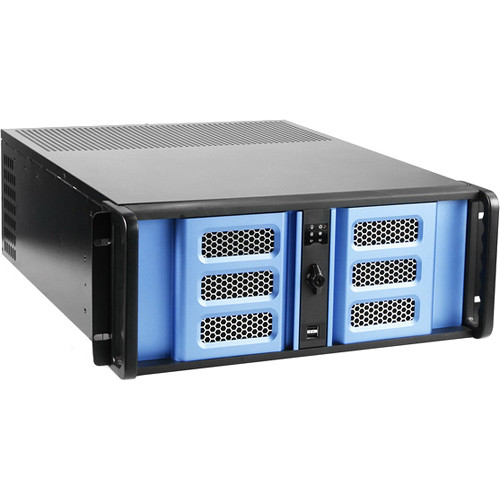 iStarUSA D Storm Series D-400-6SE 4U Compact Stylish Rackmountable Chassis (Blue Bezel)