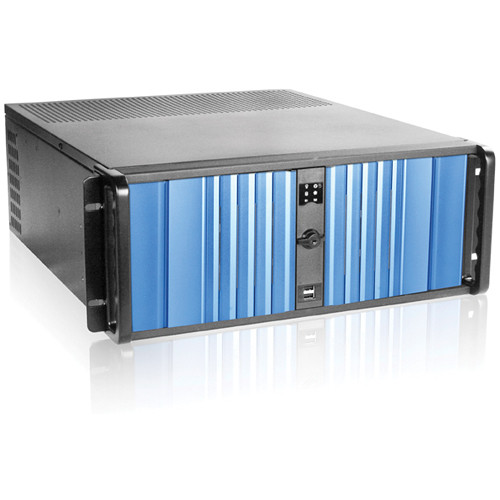 iStarUSA D Storm Series D-400SEA 4U Compact Stylish Rack Mountable Chassis with Blue Bezel