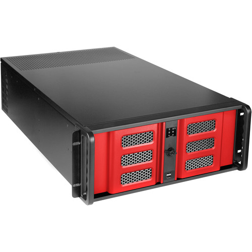 """iStarUSA D-407LSE-RD-TS859 4-Bay 4U Rackmount Chassis with 8"""" Touch Screen LCD"""