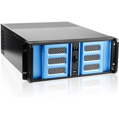 """iStarUSA 4U Compact Stylish Rackmount Chassis with 8"""" Touch Screen LCD (Blue Bezel)"""