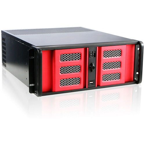 """iStarUSA 4U Compact Stylish Rackmount Chassis with 8"""" Touch Screen LCD (Red Bezel)"""