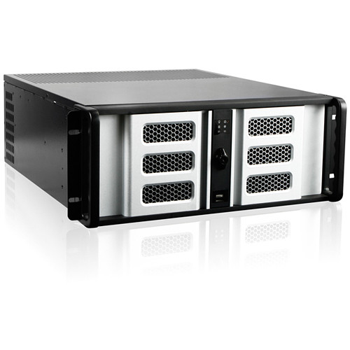 """iStarUSA 4U Compact Stylish Rackmount Chassis with 8"""" Touch Screen LCD (Silver Bezel)"""