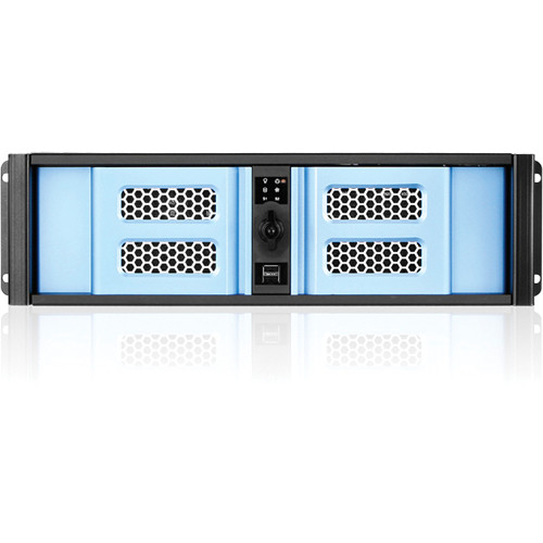 iStarUSA D Storm Series D-300SASE 3U Compact Stylish Aluminum Rackmountable Chassis (Blue Bezel)