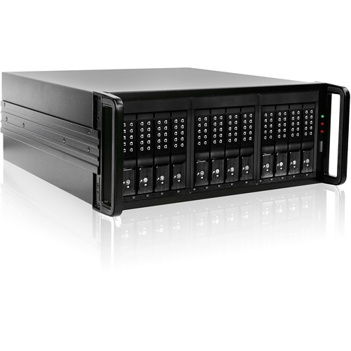 "iStarUSA 4 RU 12-Bay 3.5"" SATA 6.0 Gb/s eSATA JBOD Trayless Chassis with 500W Power Supply (Black HDD Handles)"