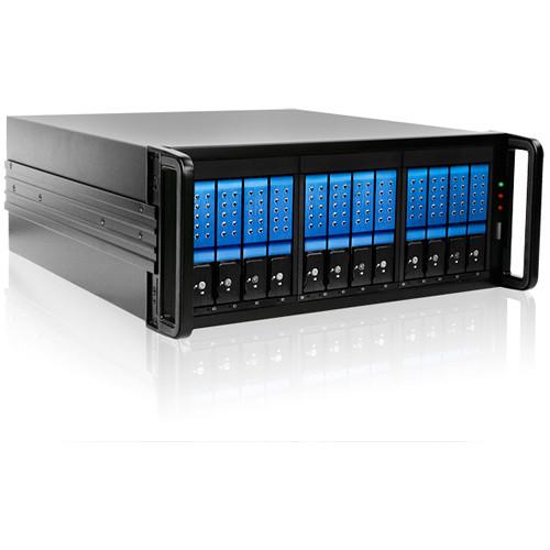 "iStarUSA 4 RU 12-Bay 3.5"" SATA 6.0 Gb/s eSATA JBOD Trayless Chassis with 500W Power Supply (Blue HDD Handles)"