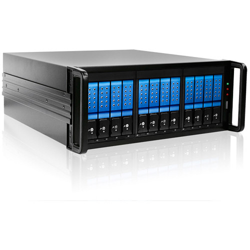 "iStarUSA 4 RU 12-Bay 3.5"" SATA 6.0 Gb/s eSATA JBOD Trayless Chassis with 500W Power Supply (Blue HDD Handles)"