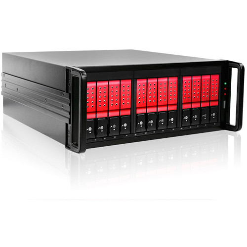 iStarUSA DAGE412U40DE-3MS 12-Bay Mini-SAS RAID Enclosure (Red Hard Drive Handles)