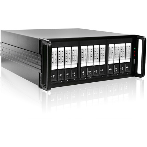 "iStarUSA 4 RU 12-Bay 3.5"" SATA 6.0 Gb/s eSATA JBOD Trayless Chassis with 500W Power Supply (Silver HDD Handles)"