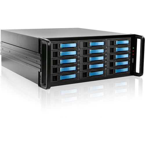 iStarUSA 4U 15-Bay SATA eSATA Port Multiplier JBOD Chassis with 750W Power Supply (Blue HDD Handles)