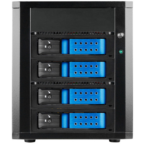 "iStarUSA 4 x 3.5"" Bay SAS/SATA 6.0 Gb/s MiniSAS Trayless Hot-Swap Enclosure (Blue)"