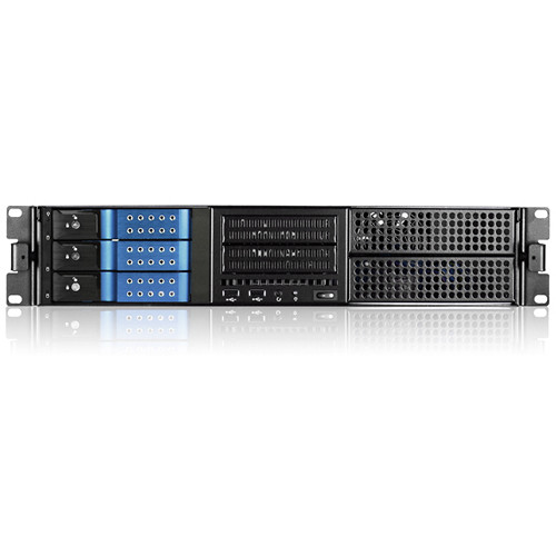 "iStarUSA E-204L 2 RU E-ATX 4x 5.25"" Bays Rackmount Chassis with BPN-DE230SS SAS/SATA Trayless Hot-Swap Cage (Blue Bezel)"