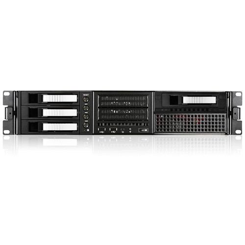 """iStarUSA 2 RU EATX Rugged Rackmount 4 x 3.5"""" Hotswap Chassis (Silver HDD Handles)"""