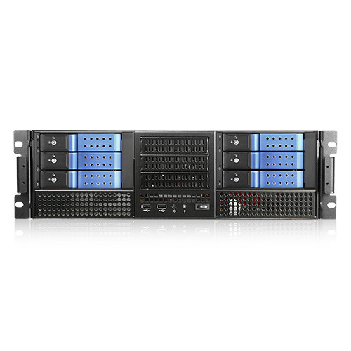 "iStarUSA E-306L E-ATX 6 x 5.25"" Bays Rackmount Chassis with BPN-DE230SS SAS/SATA Trayless Hot-Swap Cage (3 RU, Blue Bezel)"