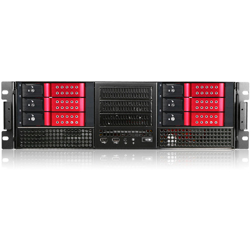 "iStarUSA E-306L E-ATX 6 x 5.25"" Bays Rackmount Chassis with BPN-DE230SS SAS/SATA Trayless Hot-Swap Cage (3 RU, Red Bezel)"