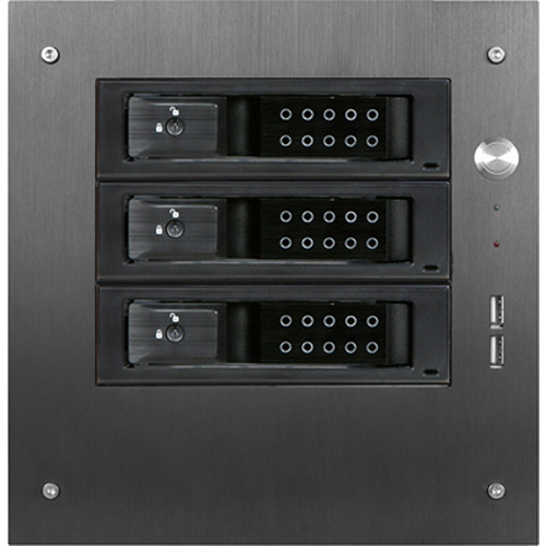 "iStarUSA Compact Stylish 3x 3.5"" Hotswap Trayless mini-ITX Tower (Black HDD Handles)"